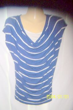 H&M T Shirt Size 8 Blue White Striped Short Sleeve Pull Over #HM #TSHIRT
