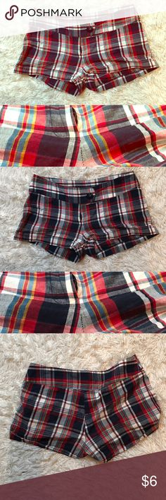 """Tartan plaid shorts Blue, red, white, and a little yellow, tartan shorts. No stretch. 16"""" waist, 10 1/2"""" length. Forever 21, Wet Seal, Rat Baby, Alternative Fashion, Gypsy Warrior, Hot Topic, Maurice's, Nasty Gal Check out my other listings and bundle to save! 💀👻🖤 🖤💕 Offers welcome 💕🖤 Rue 21 Shorts"""