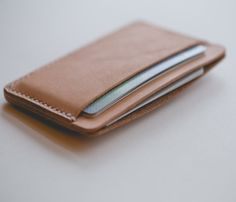 Minimalist three pocket leather card wallet-SR