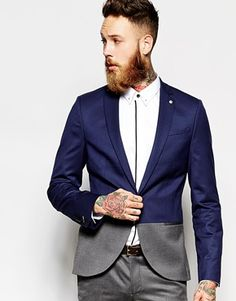 Noose & Monkey Blue Suit With Shawl Lapel In Skinny Fit | M*A*N ...