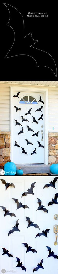 Spiders Bats Oh My Dress Up Your Front Door With This Simple Diy Diy Bat Decor Free Pattern Halloween Bat Amp Boo Ball Theme Party Decorations Amp Ideas Diy Halloween Spider, Halloween Tags, Halloween Birthday, Halloween Projects, Diy Halloween Decorations, Halloween Party Decor, Holidays Halloween, Batman Birthday, Batman Party