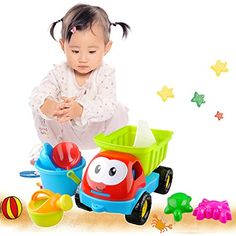 Sealive 8 pcs Beach Toys Playset for Kids Large Dump Truck Sand Shovel Summer Set for baby&kids&children 1 years up *** Details can be found by clicking on the image.
