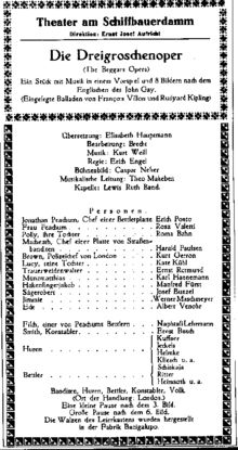 The Threepenny Opera - Playbill of the premiere performance at Theater am Schiffbauerdamm Berlin, 31 August 1928. The name of Lotte Lenya, who played the Jenny, was omitted by mistake.  kurt Guerron's signature role also listed.