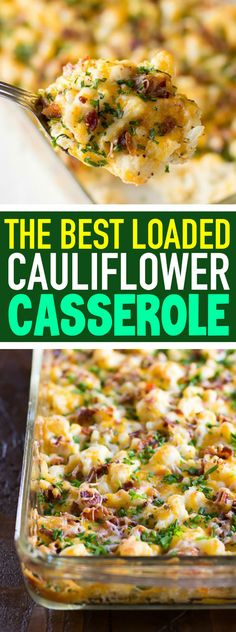 Loaded Cauliflower Casserole Recipe Cheesy Cauliflower Casserole Baked Cauliflower Dinner Easy Cauliflower Casserole Use smoked beef for muslim! Keto Cauliflower Casserole, Keto Casserole, Paleo Casserole Recipes, Baked Cauliflower Whole, Casserole Ideas, Recipes With Cauliflower, Cauliflower Cheese Bake, Vegetarian Casserole, Healthy Lunches