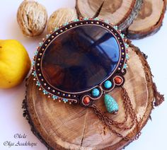 """Collection """"Captivated by Turquoise"""" Brooch """"The Copper Whirlwind"""" Embroidered embroidery, turquoise, Hovlite, Japanese beads, acrylic element, copper chain, glass beads"""