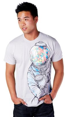 Gumballs T-shirt by tolagunestro from Design By Humans. Is that what happens to your head when you go to space? Gumballs is an illustration of an astronaut with a gumball machine as his head. This funny t-shirt will have you blowing bubbles as your in space cadet land.  for $22
