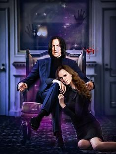 Snape And Hermione, Professor Severus Snape, Hermione Granger, Gothic Themes, Beautiful Library, Harry Potter Fan Art, Wild Hair, Punk, Opal
