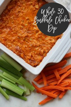 "Buffalo chicken dip since we'll be on the Whole30 train for the super bowl. Thinking of making some ""potato chips"" to go with it because those carrots and celery in the picture are just making me sad."