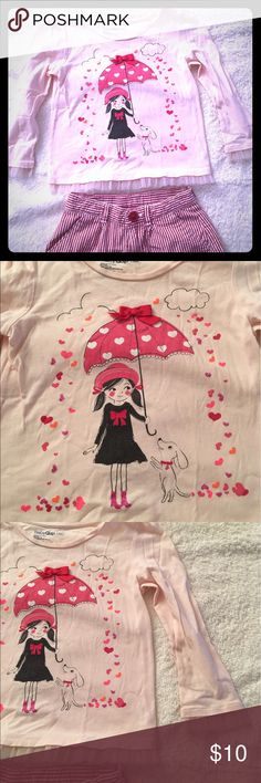 BabyGap Tee Pink embellished Tee, Sz. 3T. BabyGap Pink embellished Tee, Sz. 3T.  Long Sleeved Tee with Tulle on arm & bottom edges.  Heart Rain ☔️ shower.  Pink Grosgrain Ribbon 🎀 embellishment.  EUC. Smoke free/ Pet free home. GAP Shirts & Tops Tees - Long Sleeve
