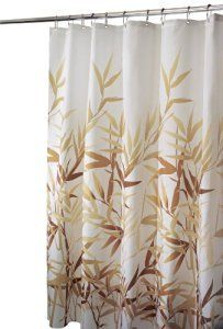 Interdesign Shower Curtain Anzu 72  X 72  100 Percent Poly Wht With Brn And Tan Bamboo Leaves ** Check out the image by visiting the link.