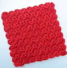 Easy crochet dish cloth. Makes a scalloped border without having to go around the edge. Get 2 dishclothes from 1 ball of sugar and cream. {it took me about 2 hours to work one of these up. It's attractive and has a good scrubby surface}
