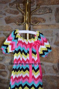 Chevron peasant dress rainbow coloredpink by SweetpeadesignsbyDee, $28.00