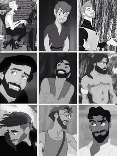 Disney men with beards <3