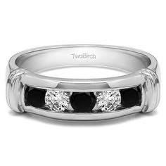 14k White Gold Cool Mens Ring or Mens Wedding Band With Black And White Diamonds(0.49 Cts., black, I1-I2) (14k Yellow Gold, Size 8.5), Men's (solid)