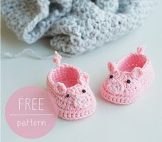 "Just cuter than cute! These amazingly adorable baby booties would make such wonderful gifts, too! This fabulous free crochet pattern for the ""Piggy Baby Booties"" is by designer Doroteja…"