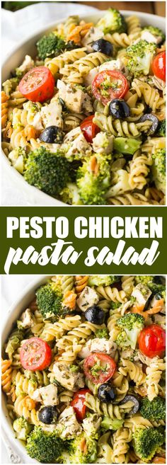 Pesto Chicken Pasta Salad -  Tender white chicken morsels, fresh veggies, black olives all wrapped in a flavourful pesto sauce. #ad