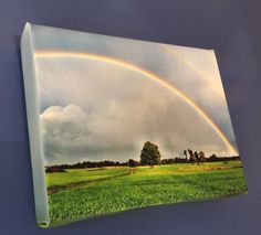 Rainbow over Hadley Stretched Canvas Print by BlueHydrangeaCanvas Hadley, Stretched Canvas Prints, All Things, Looks Great, Rainbow, Places, Handmade, Painting, Etsy