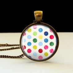 Polka Dots Photo Glass Tile Pendant, Polka Dots necklace, Photo Jewelry. $10.95, via Etsy.