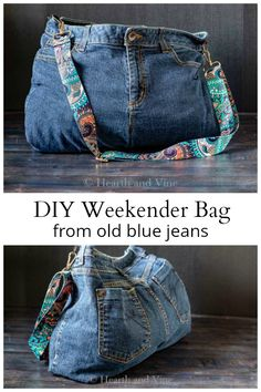 Recycle your old jeans with this DIY bag from jeans tutorial. Perfect for a weekend getaway or even an everyday handbag.This DIY bag from jeans is the perfect weekender bag that's easy to make, and only requires some basic sewing skills to create. Diy Bags Jeans, Denim Bags From Jeans, Artisanats Denim, Diy Old Jeans, Denim Purse, Diy Bag With Jeans, Old Jeans Recycle, Diy Bags Purses, Denim Bag Tutorial