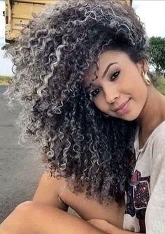 36 Ideas Hair Color Black Gray Curls For 2019 Grey White Hair, Grey Curly Hair, Long Gray Hair, Hair Color For Black Hair, Curly Hair Styles, Big Natural Hair, Natural Hair Styles, Frontal Hairstyles, Wig Hairstyles