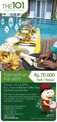Join us in fasting break's cooking live show in THE 1O1 Yogyakarta Tugu. With only Rp. 70.000, you can enjoy our Arabian-style Snacks.