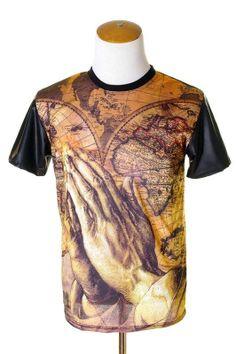 59342d3ed67 Men s Global Praying Hands Sublimation T-Shirt w  Vegan Leather Sleeves (M)