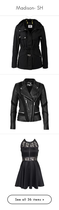 """""""Madison- SH"""" by inestrindade on Polyvore featuring outerwear, coats, jackets, black, zip coat, hooded parka coat, vero moda coat, vero moda parka, hooded coat and iro jacket"""