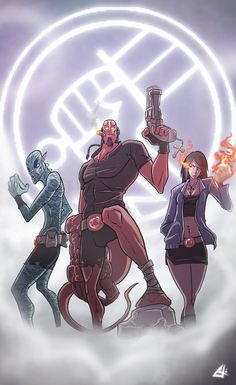 Hellboy and Co. Commission by G-Chris.deviantart.com on @deviantART Abe Sapien, Cartoon Games, Cartoon Styles, Mike Mignola, Fantasy Movies, Fantasy Art, My Superhero, Marvel Heroes, Marvel Comics