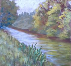 Le canal du Midi (south of France) Soft pastels in plein air. http://poussieresdepastels.blogspot.com