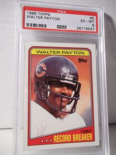 1988 Topps Walter Payton PSA EX-MT 6 Football Card #5 NFL HOF Collectible #ChicagoBears