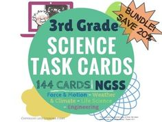 "An entire YEAR of science! 144 cards, 4 subject areas, and more than just multiple choice! Created for those using the Next Generation Science Standards*. Cards can also be a review for Fourth-grade students, or a preview for Second-grade. They can be used as class warm-ups, bell work, extra credit, ""scoot"" game, and countless other ideas!  This set covers LIFE SCIENCE (Biology), FORCE & MOTION (Physical Science), WEATHER & CLIMATE"