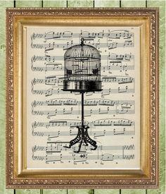 Items similar to Birdcage Art Print Sheet Music Art Print Wall Decor Vintage Dictionary Print Dictionary Prints Book Page Art on Etsy Sheet Music Decor, Print Sheet Music, Recycling, Book Pages, Bird Cage, Etsy Vintage, Paper Art, Wall Art Prints, Ceiling Lights