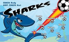 Sharks B53723  digitally printed vinyl soccer sports team banner. Made in the USA and shipped fast by BannersUSA.  You can easily create a similar banner using our Live Designer where you can manipulate ALL of the elements of ANY template.  You can change colors, add/change/remove text and graphics and resize the elements of your design, making it completely your own creation.