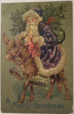 Blue Coat Santa Claus With Donkey 1907 Postcard Blue Coat Santa Claus With Donkey 1907 Postcard Purple Christmas, Old Christmas, Old Fashioned Christmas, Victorian Christmas, Father Christmas, Retro Christmas, Christmas Greetings, Christmas Crafts, Christmas Postcards