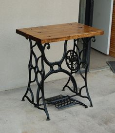 Table Made From an Antique Iron Sewing Machine by RepeatOffenders, $175.00