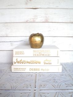 White Books Instant Library Collection Vintage Decorative Book Bundle Photography Props Cream, Off White,  Wedding Gold.