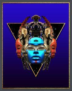 Afro futurist digital art by Manzel Bowman Capital Des Pays, Digital Collage, Digital Art, Futurism Art, Iconic Album Covers, Black Future, Beautiful Dark Skinned Women, Black Art Pictures, Black Love Art