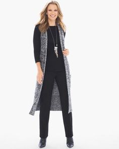 Fulfill your need for tweed. This casual textured vest is a classic component to the modern layered look. Length: Cotton, acrylic, polyester, nylon and spandex. Layered Look, Autumn Winter Fashion, Tweed, Duster Coat, Vest, Pepper, Clothes For Women, My Style, Long Sleeve