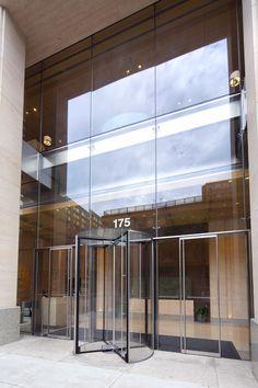 175 West 60th Street | W&W Glass, LLC Partition Door, Front Elevation Designs, Revolving Door, Dojo, Atrium, Engineer, Glass Door, Building Design, Canopy