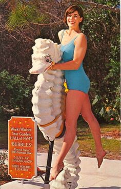 """A Weeki Wachee Mermaid poses with """"Bubbles,"""" the star Seahorse from the past Mermaid Show, """"ALICE IN WATERLAND""""…Bubbles is featured in the Memory Lane at the STAR GARDEN HALL OF FAME at Weeki Wachee, Florida."""
