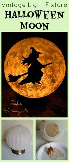 Sadie Seasongoods: salvaged ceiling light fixture full moon Halloween witch DIY craft project / www.sadieseasongoods.com