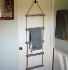 Wooden rope towel bathroom ladder,Bowley & Jackson Wooden rope towel bathroom ladder Bowley & Jackson Elegant Blanket Storage A few ideas One of many simplest ways to warm up a room is. Hanging Ladder, Rope Ladder, Ladder Decor, Wooden Bathroom, Bathroom Towels, Towel Hangers For Bathroom, Bathroom Storage Ladder, Towel Storage, Hanging Towels