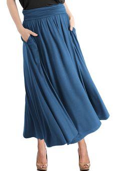 High Waist Fold Over Pocket Shirring Ankle Length Skirt