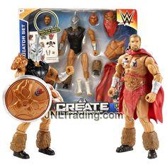 "Mattel Year 2015 Create A WWE Superstar 7"" Tall Figure Set - GLADIATOR SET with Triple H & Warrior Heads, 2 Set of Bodies & Feet, Cape, Mask & Shield"