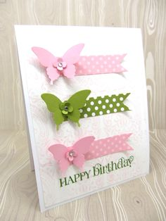 love the pink and green colors - butterfly card -