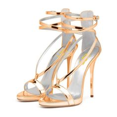 FSJ Tammy Gold Ankle-Strap Sandals Chic Fashion Strappy Stiletto Heels Sandals Elegant Prom Shoes Fashion Party Outfits Cute Outfits For Girls| FSJ