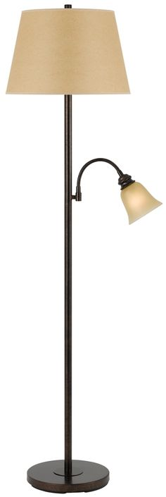 "Rust Floor Lamp Adjustable Side Arm Light Linen Hardback Fabric & Glass Lampshade 62""H"