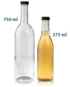 WINE BOTTLES - SCREW CAP - GLASS BOTTLES  12 bottles (small) - $32.88  12 bottles (large) - $47.40