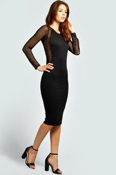 Katie Net Sleeve Bodycon Dress at boohoo.com