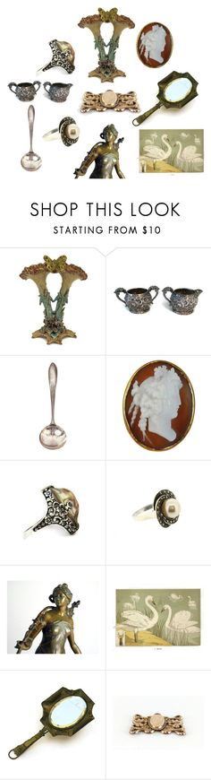 Art Nouveau by patack on Polyvore featuring interior, interiors, interior design, maison, home decor, interior decorating, vintage, Silver, jewelry and artnouveau